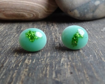 Tiny green dichroic glass stud earrings- unique- handcrafted- gift idea- dichroic glass earrings- glass stud earrings
