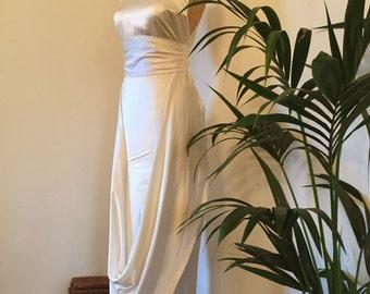 Cream silk satin 1930's inspired homemade evening gown