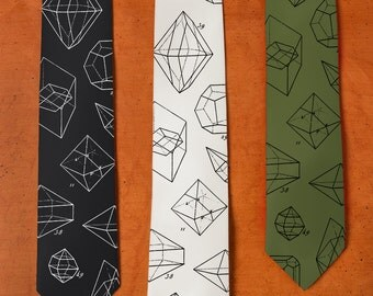 Math Tie - SILK Necktie Geometry - Geometric Shapes - Sacred Geometry - Science Tie - Mathematics Art - Men's Silk Tie