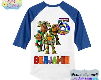 TMNT 3 Teenage Mutant Ninja Turtles  Birthday Raglan Shirt - t-shirt custom-ninja turtles shirt/personalized ninja turtle shirt/114