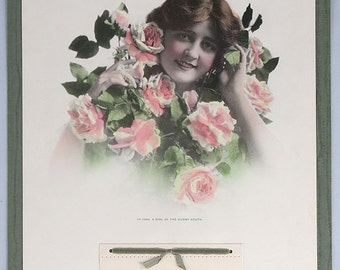 Vintage Antique Art Nouveau 1916 Advertising Calendar W/ Rosy Cheeked Young Lady Titled A Girl of the Sunny South Original Salesman's Sample