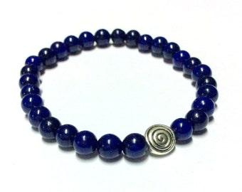 Genuine Azul Jade with Silver Swirl Yoga Mala Bracelet - Natural Spirited Stones Bracelet - Healing Stones Bracelet - Stretch Bracelet