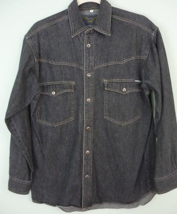 1990s Vintage Black, Denim Western Shirt / Snap Front / Sailux / Grey Jean Shirt / Modern Size Medium to Large