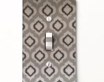 Charming Gray & White Light Switch Cover - Switchplate - Home Decor