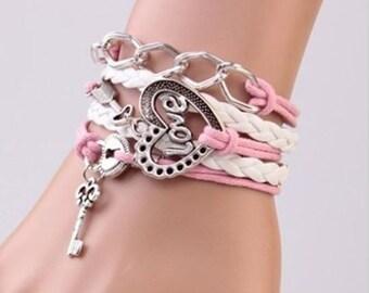 Valentine gift bracelet for a tween or teen - leather, metal charm, twine - heart, key locket