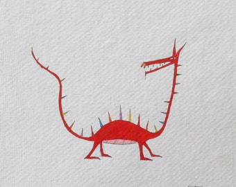 Dragon. Original watercolor. mujerlaberinto. Manu.