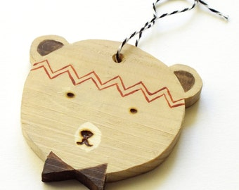 Wooden bear - Christmas Decor Christmas tree ornament / Wooden bear - Christmas tree decoration