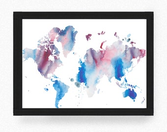 World Map, Map, Map of the World Map, Art Print