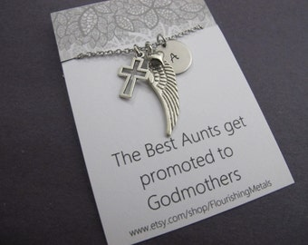 Godmother Gift, Baptism Gifts, Communion,Gift for Aunt, Godmother Necklace,Godmother Jewelry, Godmother Pendants,Godmother Quote|