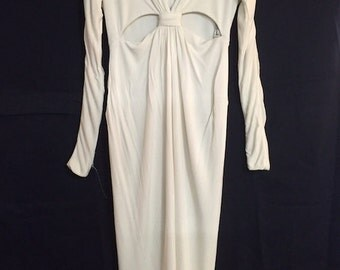 Vintage WHITE Fairly Good Condition Long Cutout Dress with front slit