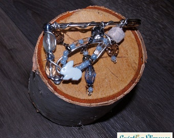 Blue rabbit brooch , silver wire