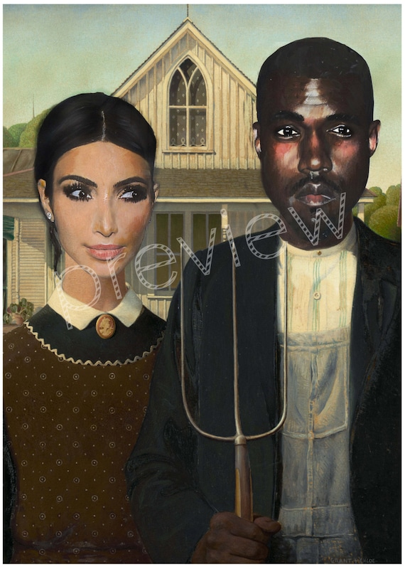 Kim Kardashian And Kanye West American Gothic Art Print