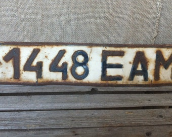 Soviet Vintage Car License Plate, Original, Russian Letters, Automobile Number Plate, Rusty Metal Sign.