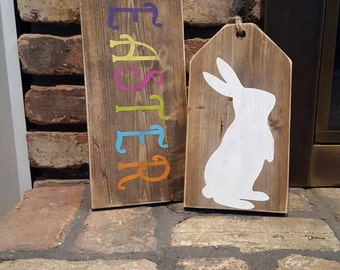 Rustic Wood Tags~Easter Wood Tags~Easter Bunny~Country Bunny~Country Easter Decor~Easter Decor~Wood Tags~Easter Bunny~Easter~Gifts~Home