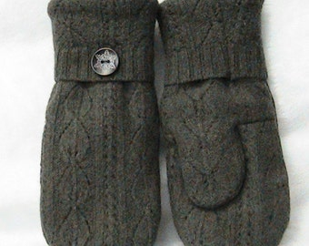 Handmade Felted Wool Sweater Mittens with Cashmere Lining