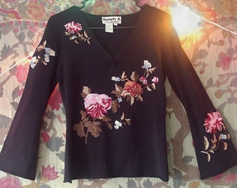 90s / vtg / Floral Embroidered Blouse / black / flared bell sleeves / size medium small