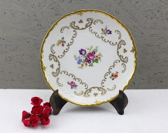 REICHENBACH Germany - hand-painted Dresden FLOWER Sprays plus Scrolled and Gilt GOLD Vintage