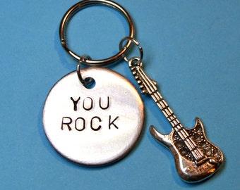 Music, Gift, Gift for him, Guitar keyring, Musical keychain, Guitar, Keyring, father Gift, dad, Guitar gift,Musician gift, UK , You rock