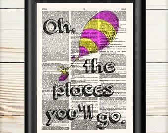 Dr Seuss Wall Art, Dr Seuss Oh The Places You'll Go, Cat in the Hat, Dictionary Print, Dr Seuss Print, Nursery Decor, Nursery Print, 105