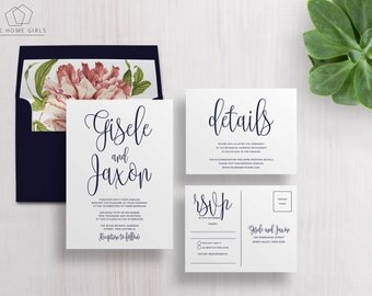 Wedding Invitation Suite Calligraphy | Navy | Save the Date | Thank You | Details | Custom | Invite Set | Gisele Suite