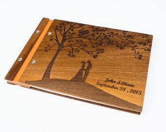 Wedding photo album, Wedding guest book, wedding Scrapbook, Custom wedding guest book, Wooden Photobook, wedding gift, Personalized
