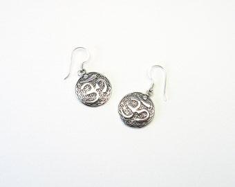 Flower of life ohm OM Silver 925 earrings Aum