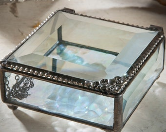 Personalized Jewelry Keepsake Box with Antique Vintage Clear Stained Glass- J. Devlin Box 723-2