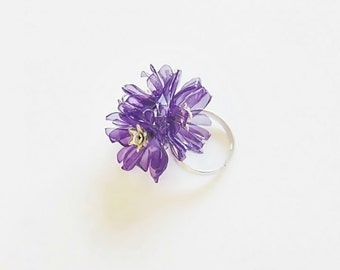 Eco friendly ring, eco friendly jewelry, eco ring, flower ring, recycled jewelry, pet bottle, upcycled jewelry, eco friendly, ring, purple