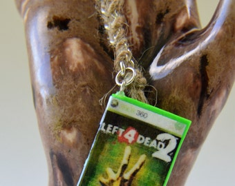 Inspired by Left For Dead II, polymer clay key chain, inspired by Xbox 360, video game key chain, gamer key chain, miniature video game