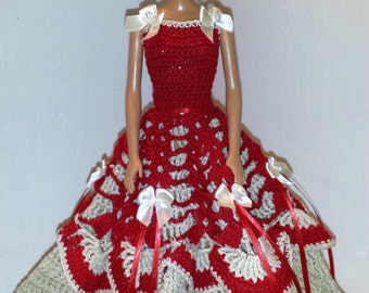 Crochet Barbie Gown, Crocheted Clothese for Barbie and Fashion Dolls
