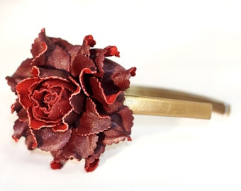 SALE! GENUINE LEATHER flower burgundy rose hair band | Deep red rose head band | Handmade real leather covered hair accessory, hair jewelry