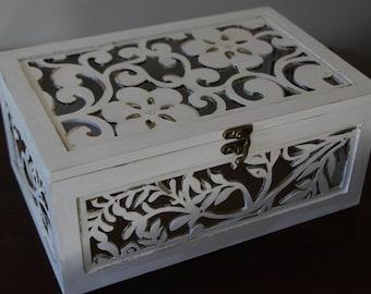 Elegant Wedding Card Box, Vintage Wedding Card Box, Garden Wedding Card Box, Wedding Keepsake, Bridal Shower Card Box