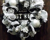 Raiders Deco Mesh Christmas Wreath