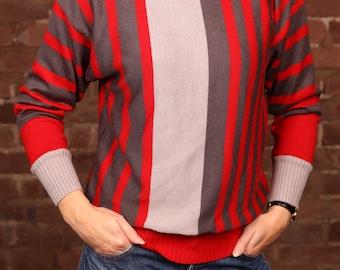 Vintage 80s 90s Jumper Sweater Red Grey Striped Patterned Knitwear S-M