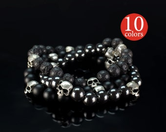 Skull bracelet men - Sugar skull jewelry with silver plated  skulls. 8 mm beads of natural stones. 10 colors to choose!!!