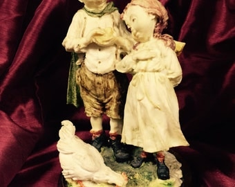 Giuseppe Armani Gulliver's World Capodimonte Boy and Girl with Chicken Figurine 1970's