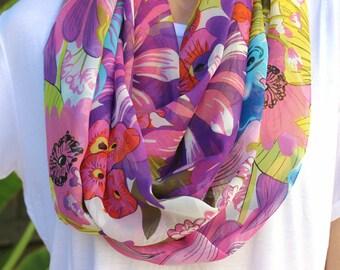 SALE 100% Silk Floral Purple Multicolor Print Infinity Loop Scarf
