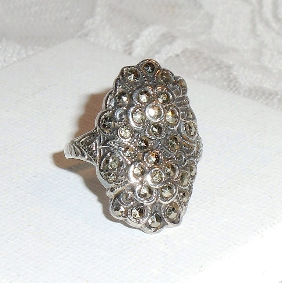 deco marcasite sterling silver ring antique 1930s signed