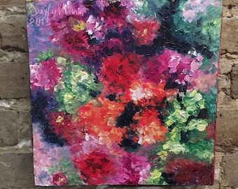Original oil painting on canvas of colorful flowers