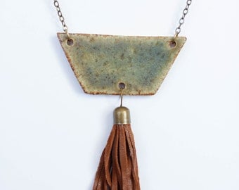 Ceramic and Leather Tassel Pendant