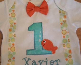 Personalized First Birthday Onesie Boys Fish bow tie suspenders embroidery applique