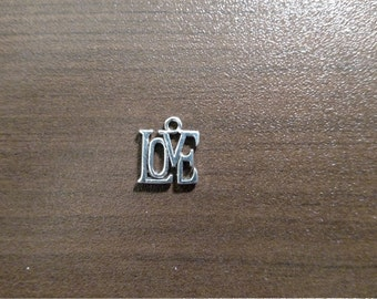 10pcs- Antique Silver LOVE Charm - Jewelry Supplies - Bulk Charms - B17