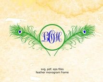 Peacock Feather Monogram Frame svg, pdf, eps files for cutting in silhouette, cricut, Peacock svg, circle monogram svg, feather svg