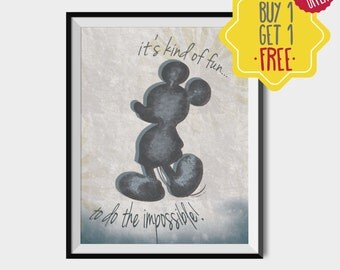 Mickey mouse, Printable poster. Kids room decor, Disney wall art, Mickey disney, disney silhouette, Art for kids, Watercolor print, Playroom