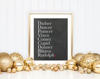 Christmas Reindeer Names Printable Art Print, Deer Printable, Christmas Print, Rudolph Print, Santa's Reindeer Art , 8x10, Chalkboard Sign