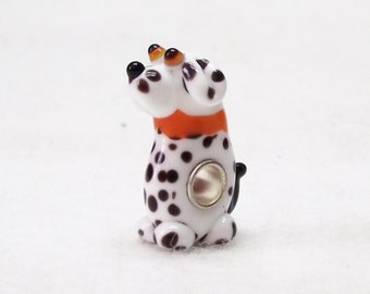 Darling Dalmation Puppy Lampwork Glass 925 Sterling Silver Bead for European Charm Necklaces