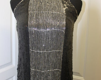 Vintage 70s Beaded and Sequined Cleopatra Column Dress Great Gatsby Flapper Dress New Years Eve Size Small
