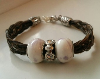 Bracelet Brown horse with White Pearl hair and a bit of pale mauve