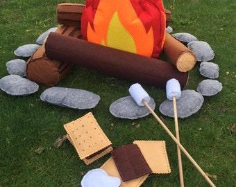 Felt Campfire | Camp Decor | Felt Toys | Camper Decor |Toddler Pretend Play | Camp Gift | Felt Fire | Pretend Campfire | Kids Campfire