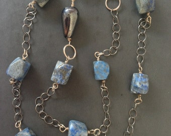 Sodalite and silver necklace and earrings set